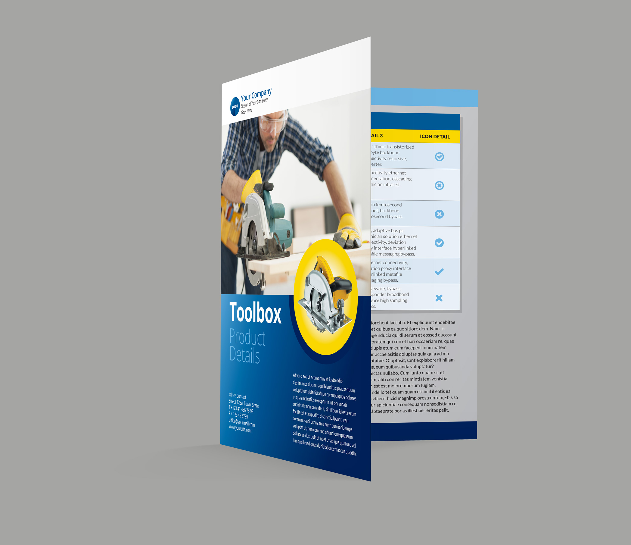 Bi-Fold Brochure InDesign Template - Inside pages & Cover