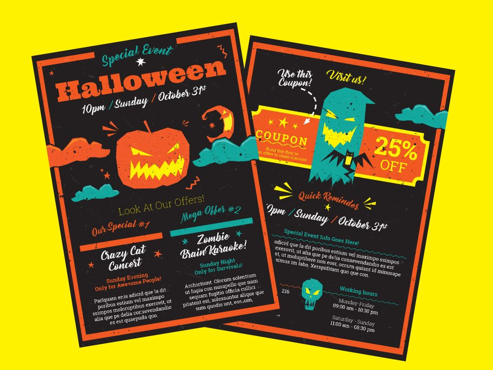 Halloween A5 flyer InDesign template